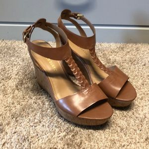 Tan leather wedge sandal